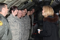 Senior Airman Rachael Garrison, 465th Air Refueling Squadron, briefs Secretary of the Air Force Deborah Lee James about operational deployments in the Reserve component during the secretary's visit to the 507th Air Refueling Wing here March 27. (U.S. Air Force Photo/Staff Sgt. Caleb Wanzer)