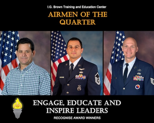 MCGHEE TYSON AIR NATIONAL GUARD BASE, Tenn. - From left, Ron Waite, civillian of the quarter, Master. Sgt. Juan P. Castro, senior NCO of the quarter, and Tech. Sgt. John McClean, NCO of the quarter, are recognised for their outstanding service at the I.G. Brown Training and Education Center here, January-March, 2015. (U.S. Air National Guard file photo illustration/Released)