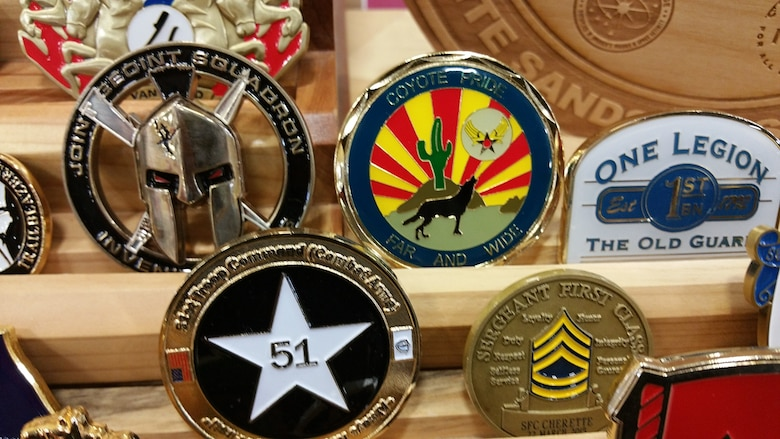 A 355th Medical Support Squadron coin was submitted for display in the White Sands Museum to show unit participation in the 26th Annual Bataan Memorial Death March at the U.S. Army White Sands Missile Range, March 22, 2015. (Courtesy photo)