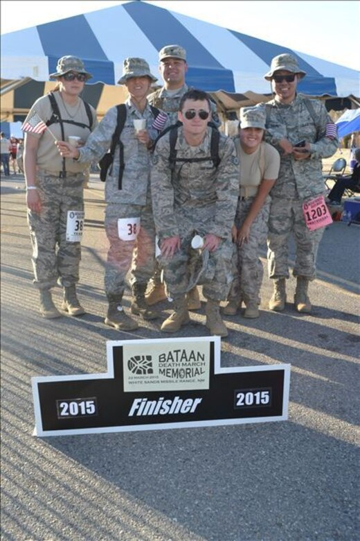 Six Airmen from the 355th Medical Support Squadron finished the 26th Annual Bataan Memorial Death March together at the U.S. Army White Sands Missile Range, March 22, 2015. (Courtesy photo)