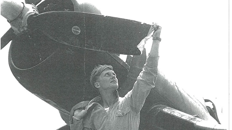 "Robert ""Bob"" Klingman flew his F4U Corsair with Marine Fighter Attack Squadron 312 in support of the Battle of Okinawa near the close of World War II. During operations he  flew into Marine Corps history when he used his propellor to chop off the tail of Japanese aircraft."