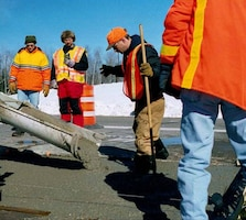 Antifreeze concrete placement to repair a pavement section in Rhinelander, Wisconsin, was performed in partnership with the Wisconsin Department of Transportation and sponsored by the Federal Highway Administration and participating state DOTs.