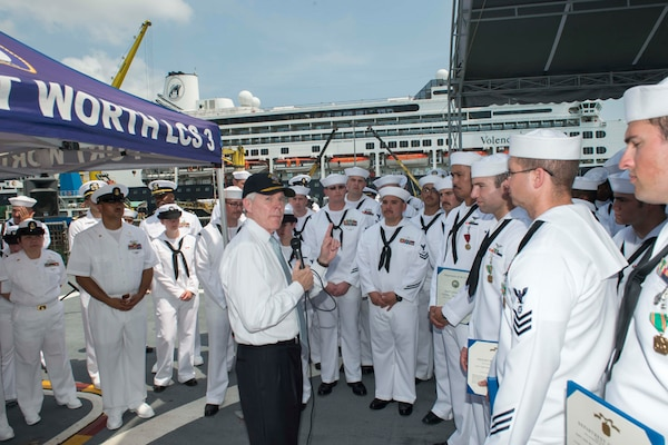 Secretary of the Navy Visits Sailors during Naval Engagement