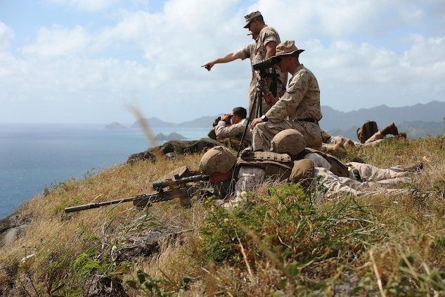 Marine scout snipers with Weapons Company, 2nd Battalion, 3rd Marine Regiment, conduct high angle shooting on Range 10 aboard Marine Corps Base Hawaii April 8, 2015. The training was different from their typical flat level or slight elevation ranges. The high angle is considered anything 30 degrees or greater.