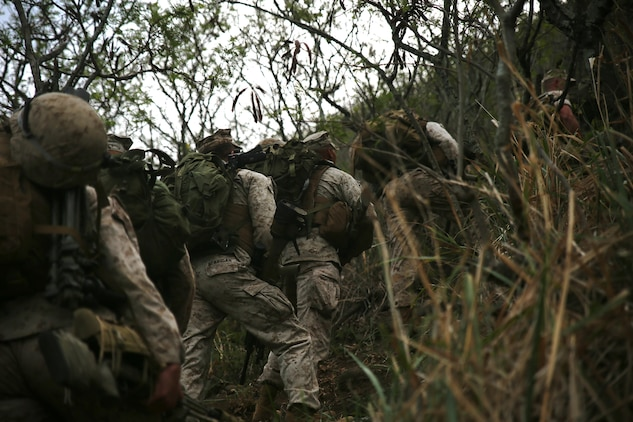 Marine scout snipers with Weapons Company, 2nd Battalion, 3rd Marine Regiment, hike up Ulupau Crater at Range 10 aboard Marine Corps Base Hawaii, April 8, 2015. The training was different from their typical flat-level or slight elevation ranges. The high angle is considered anything 30 degrees or greater.