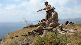 Marine scout snipers with Weapons Company, 2nd Battalion, 3rd Marine Regiment, conduct high angle shooting on Range 10 aboard Marine Corps Base Hawaii April 8, 2015. The training was different from their typical flat level or slight elevation ranges. The high angle is considered anything 30 degrees or greater. (U.S. Marine Corps photo by Sgt. Sarah Dietz)