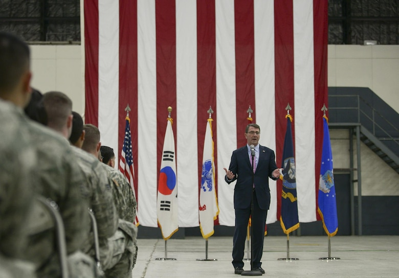 Secretary of Defense Ash Carter speaks to a crowd of service members April 9, 2015, at Osan Air Base, South Korea. Carter briefly spoke about the importance of the United States' role in Asia before taking questions from the audience. (U.S. Air Force photo /Staff Sgt. Jake Barreiro)