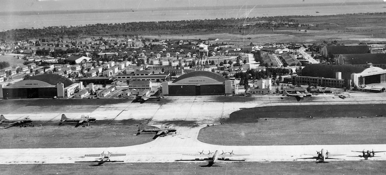Various aircraft sit on the MacDill Field flightline during the World War II era. MacDill Field is named in honor of Col. Leslie MacDill, a military pilot who was killed instantly after crashing, shortly after take-off from Bolling Field, D.C., in the BC-1 airplane he was piloting.