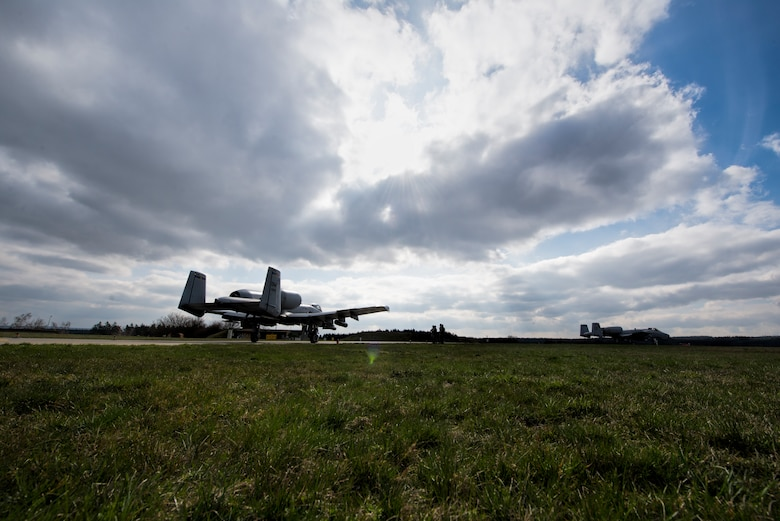 A U.S. Air Force A-10 Thunderbolt II attack aircraft pilot assigned to the 354th Expeditionary Fighter Squadron taxis to the runway during a theater security package deployment to Namest Air Base, Czech Republic, April 9, 2015. The pilots will conduct training alongside NATO allies to strengthen interoperability and demonstrate U.S. commitment to the security and stability of Europe. (U.S. Air Force photo by Staff Sgt. Christopher Ruano/Released)