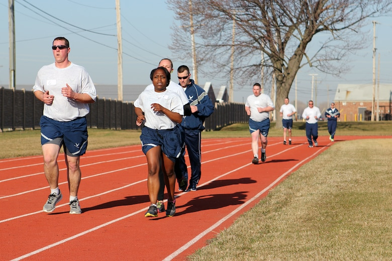 150412-Z-VA676-017 -- Airmen of the 127th Wing complete the run during their annual physical fitness assessment at Selfridge Air National Guard Base, Mich., April 12, 2015. Airmen are tested annually to ensure they continue to meet Air Force physical fitness standards. (U.S. Air National Guard photo by Tech. Sgt. Dan Heaton)