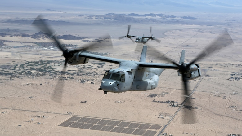 MV-22B Ospreys with Marine Medium Tiltrotor Squadron 163 conduct a training flight from Marine Corps Air Station Miramar, California, April 10. This training operation marks the last time the commanding officer of VMM-163 will participate in a squadron-sized event before relinquishing command.
