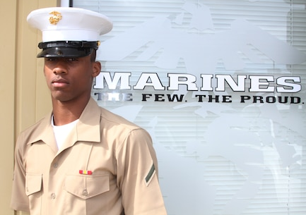 19-year-old Newark New Jersey, native, Pfc. Michael D. Dickens, stands in front of the Marine Corps Recruiting Substation Monmouth office March 18, where he began his journey. Dickens graduated 12 weeks of Marine Corps Recruit Training in Parris Island, S.C., March 13, and this stands as just his latest example of overcoming obstacles. Dickens moved from foster home to foster home since he was just 5 and lived out of his car before joining the Marines.