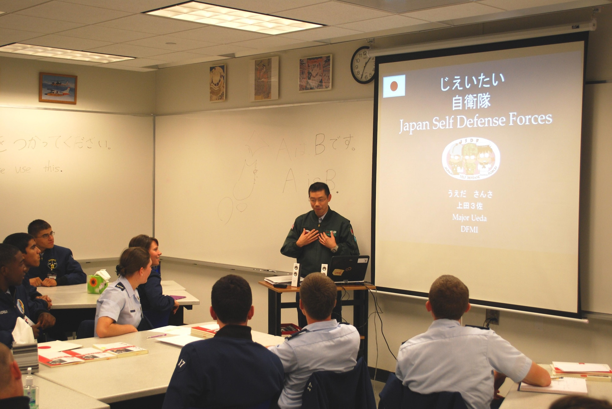 Japan Air Self-Defense Force Maj. Kazuto Ueda teaches military strategy and operations during a Japanese language class at the U.S. Air Force Academy, Colo. Every year, the Academy and Japan's National Defense Academy exchange an officer to teach military and strategic studies for two years. Ueda, the Academy's 17th Japanese exchange officer, arrived in 2013. (Courtesy photo)