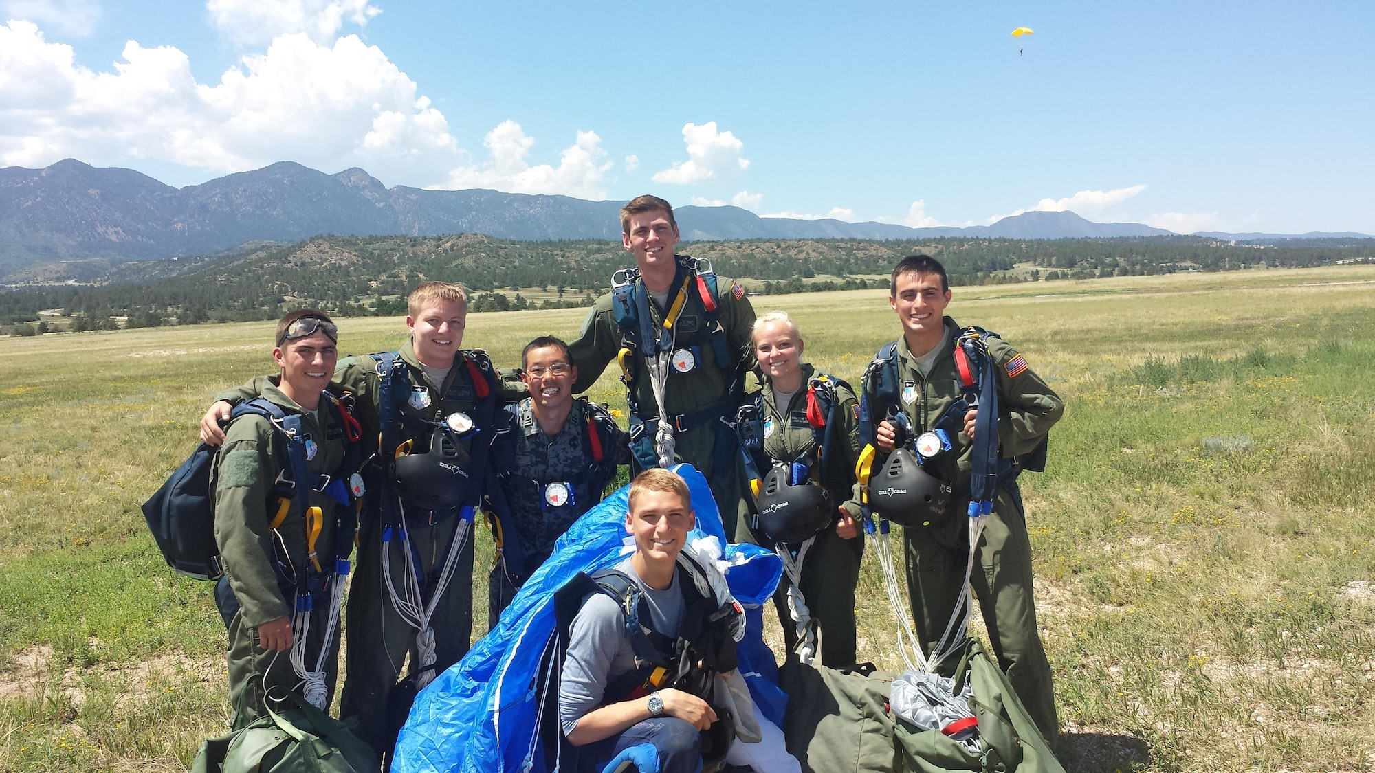 Japan Air Self-Defense Force Maj. Kazuto Ueda (center left) poses with his Airmanship 490 (Basic Jump Training) class in 2014. He earned his wings and learned more about Airmanship programs at the U.S. Air Force Academy. (Courtesy photo)