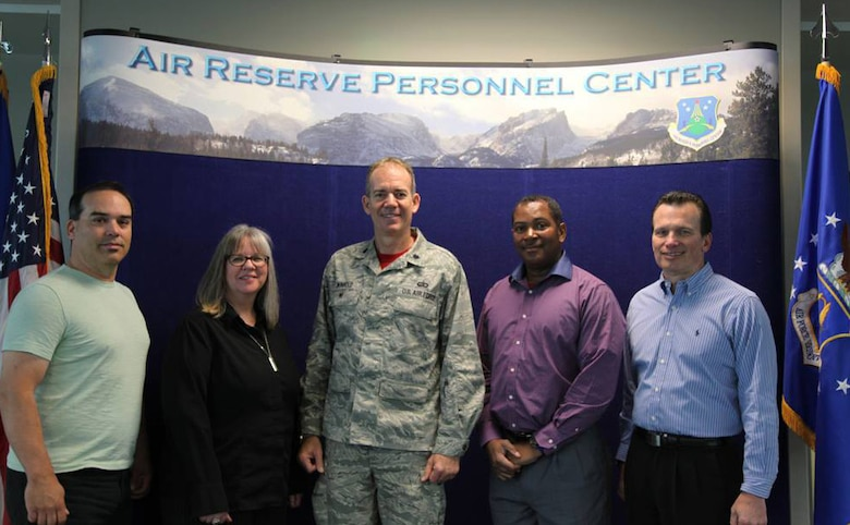 The Policy, Plans, Programs, Presentations and Process Improvement (P5I) Team from the Air Reserve Personnel Center will be awarded an annual Rocky Mountain Eagle Award in the Special Project or Achievement Team category during a ceremony to be held in conjunction with the Colorado Federal Executive Board Professional Development Seminar May 5, 2015, in Denver. Representing the P5I team are Orlando Medina, Sara Jenkins, Lt. Col. Bruce Winhold, Alric Nunerley and Scott Fromm. Nominations for the Rocky Mountain Eagle Awards are selected from all civilian, military and postal agencies and are open to federal employees within the State of Colorado at all grades of service from entry level through senior executive service. (U.S. Air Force photo/Tech. Sgt. Rob Hazelett)