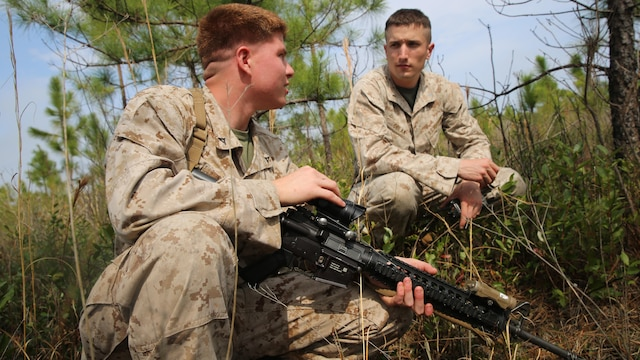 Marines with 2nd Battalion, 2nd Marine Regiment, strategize for a simulated attack during movement to contact training at a firing range aboard Camp Lejeune, N.C., April 9, 2015. The attacking teams established points of ambush within the trees around the range. Once the teams engaged, the Marines were required to close with and either capture or suppress them and move on to the main objective.