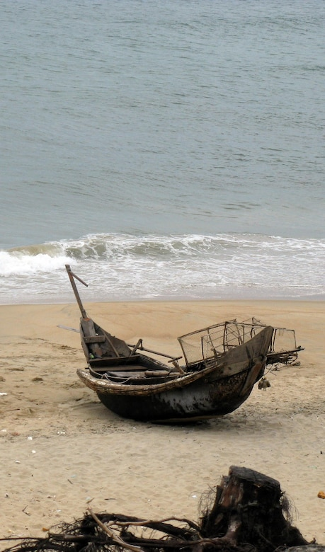 A bamboo fishing boat like the one used by Karl Mai and some of his high school classmates to escape Vietnam in 1981.