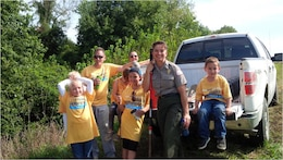 Volunteers help staff at the Riverlands Project Office during National Public Lands Day.