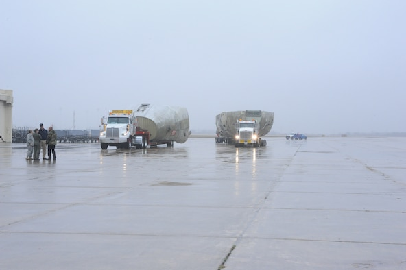 C-17 AE trainer arrives at the 502nd Trainer Development Squadron at Randolph Air Force Base for modifications