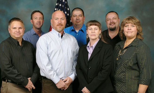 Air Force Research Laboratory's safety office at Kirtland was recently named the best office of its kind in the Air Force. The office members, from left, are Jim Wilkinson, Mike Martin, Frank Wheatley, Cory Young, Karen George, Steve Sites, Cassie Ringham-Chavez. The member not pictured is Kea Anderson. (Courtesy photo)