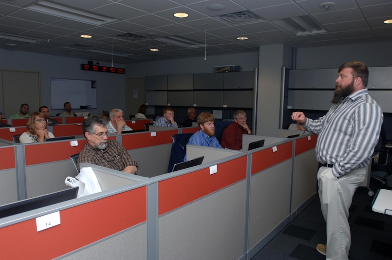 Bobby Sells, GIS manager for the U.S. Army Corps of Engineers Nashville District, welcomes a group of park rangers and regulators to a four-day class April 6, 2015 on how to collect geospatial data for natural resource management and to protect the nation's waterways.  The class was held at the Nashville District headquarters in Nashville, Tenn.