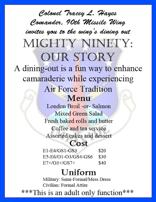 90th Missile Wing 2015 Dining-out Flyer