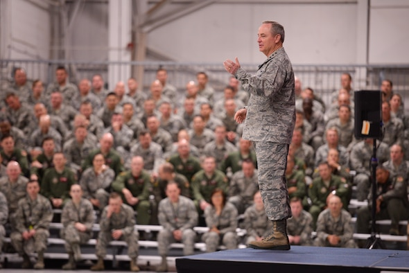 Over 1,000 Guard and Reserve Airmen had the opportunity to listen to U.S. Air Force Chief of Staff Gen Mark A. Welsh III speak April 11 about key issues affecting the Air Force. (U.S. Air Force photo/Staff Sgt. Caleb Wanzer/Released)