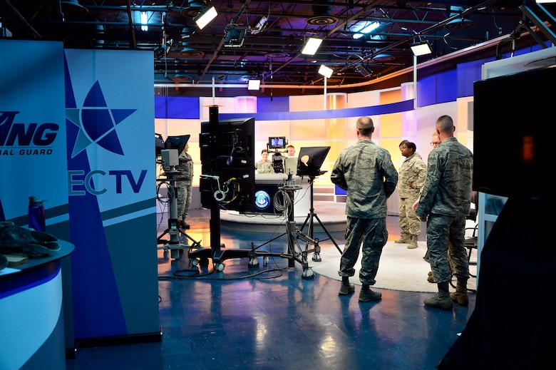 MCGHEE TYSON AIR NATIONAL GUARD BASE, Tenn. - Students, instructors and broadcast technicians prepare to practice on-camera broadcasts here at the I.G. Brown Training and Education Center TEC TV studio one during the on camera instructors' course. The course prepares instructors to teach professional military education through broadcast television.  (U.S. Air National Guard photo by Master Sgt. Mike R. Smith/Released)