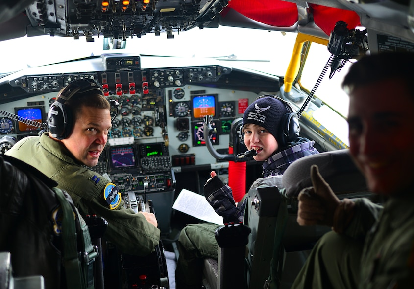 Airmen of the 121st Air Refueling Wing host Ian Straight, a 12-year-old from Lancaster, Ohio, for their pilot for a day program March 19, 2015, at Rickenbacker Air National Guard Base, Ohio. The program treats a youth with chronic or life threatening illnesses to a day of military experiences. The 121st ARW has partnered with Nationwide Children's Hospital to provide this opportunity. (U.S. Air National Guard photo by Master Sgt. Ralph Branson/Released)