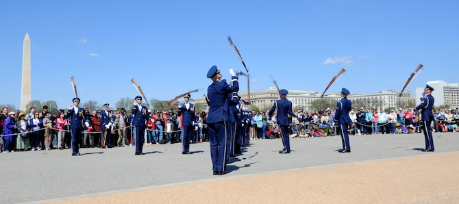 The United States Air Force Honor Guard performs during the Joint Service Drill Exhibition in Washington, D.C., April 11, 2015. The Old Guard, Army, Navy, Marines, Coast Guard and Naval Academy's drill team also performed during the event. (U.S. Air Force photo/Airman 1st Class Ryan J. Sonnier)