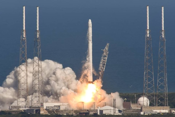The Falcon 9 Dragon spacecraft launches from Space Launch Complex 40 at Cape Canaveral Air Force Station, Fla., April 14, 2015, and is headed toward the International Space Station. The 45th Space Wing supported Space Exploration Technologies' (SpaceX) successful launch. (Courtesy photo/SpaceX)