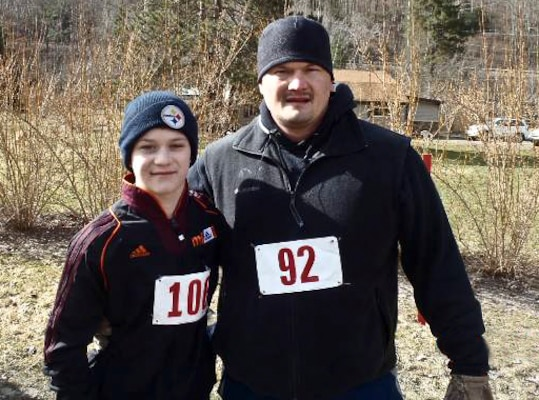 Jason Quinn and his son Aiden participated in the first Bunny Run-Walk at Tionesta Lake, April 4.