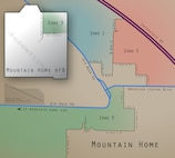 School District Trustee Zone Map for Zones 1, 3 and 5 for Mountain Home and Mountain Home Air Force Base, Idaho. Zone 3 on Mountain Home AFB is east of Gunfighter Ave. and north of Eagle Dr. (U.S. Air Force graphic by Tech. Sgt. Samuel Morse)