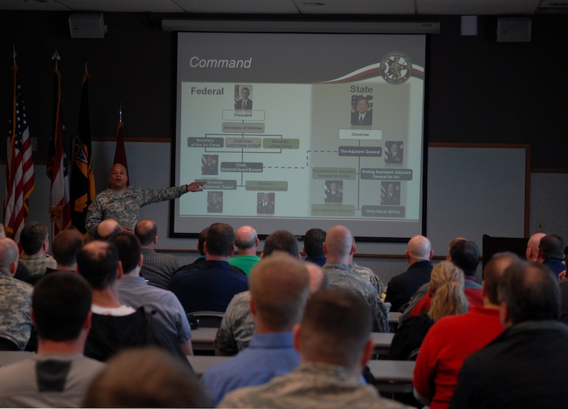 U.S. Army Maj. Gen. John Harris, the assistant adjutant general for Army, briefs Ohio employers during the Ohio National Guard Northwest Joint Employer Event April 2, 2015 at Rickenbacker Air National Guard Base, Ohio. The event was held for employers around Ohio to come and learn about the mission of the National Guard, to foster support and build a partnership. (U.S. Air National Guard photo by Airman Ashley Williams/Released)