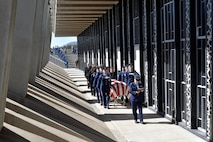 Rabbi (Maj.) Sarah Schechter, a Cadet Chapel Jewish chaplain, reads Psalms while the U.S. Air Force Academy Honor Guard escorts the casket containing the remains of Capt. Richard D. Chorlins, an Academy Class of '67 graduate, into the Cadet Chapel April 14, 2015. Chorlins was killed in Vietnam in January 1970. His remains were transferred here April 13, 2015 in a dignified arrival ceremony and he was laid to rest at the U.S. Air Force Academy Cemetery April 14, 2015. (U.S. Air Force photo/Liz Copan)