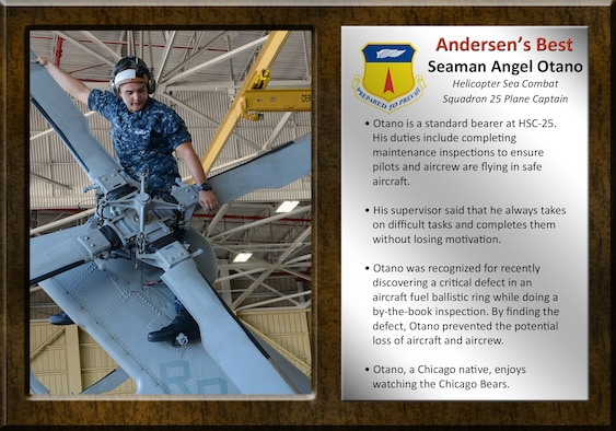 Seaman Angel Otano, Helicopter Sea Combat Squadron 25 plane captain, was awarded Team Andersen's Best April 9, 2015. Team Andersen's Best is a recognition program which highlights a top performer from the 36th Wing. Each week, supervisors nominate a member of their team for outstanding performance and the wing commander presents the selected Team Andersen member with an award. (U.S. Air Force photo by Airman 1st Class Alexa Ann Henderson/Released)