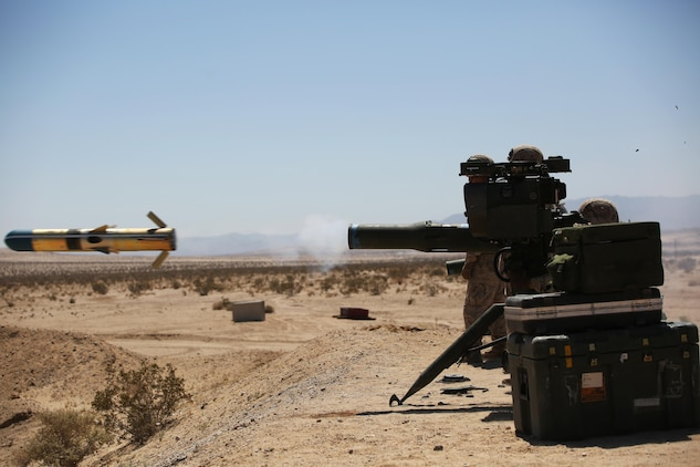 Marines with Anti-Armor Section, Weapons Company, Ground Combat Element Integrated Task Force, fire an M41A4 Saber missile launcher during a Marine Corps Operational Test and Evaluation Activity assessment at Range 110, Marine Corps Air Ground Combat Center Twentynine Palms, California, April 12, 2015. From October 2014 to July 2015, the GCEITF will conduct individual and collective level skills training in designated ground combat arms occupational specialties in order to facilitate the standards-based assessment of the physical performance of Marines in a simulated operating environment performing specific ground combat arms tasks. (U.S. Marine Corps photo by Cpl. Paul S. Martinez/Released)