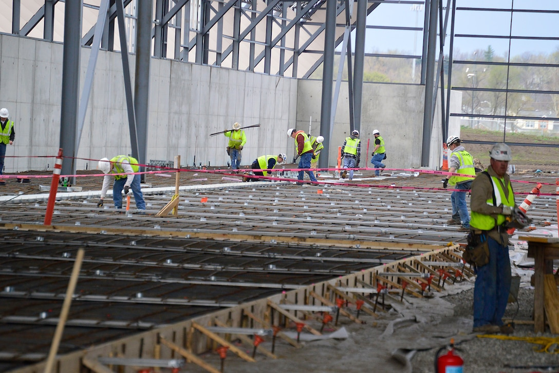 DAYTON, Ohio -- Construction crews prepare framing for the concrete install at the west end of the fourth building construction site on April 14, 2015, in Dayton, Ohio. The 224,000 square foot building, which is scheduled to open to the public in 2016, is being privately financed by the Air Force Museum Foundation, a non-profit organization chartered to assist in the development and expansion of the museum's facilities. (U.S. Air Force photo)