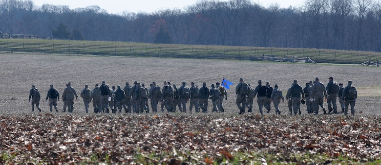 Members of the 111th Security Forces Squadron, Horsham Air Guard Station, Pennsylvania,  begin a ruck march April 11, 2015 at Gettysburg National Military Park. Nearly 60 Guardsmen from the 111th Attack Wing's security forces squadron participated in a four-day team building and skills training event, April 9 – 12, 2015, at the state's joint-force training center at Fort Indiantown Gap and at Gettysburg National Military Park. (U.S. Air National Guard photo by Tech. Sgt. Andria Allmond/Released)