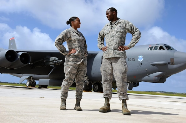 Airmen 1st Class Ashley, 20th Expeditionary Bomb Squadron combat crew communications apprentice, and Iseral McDowell, 36th Expeditionary Aircraft Maintenance Squadron hydraulic systems apprentice, stand in front of a B-52H Stratofortress at Andersen Air Force Base, Guam, April 7, 2015. The McDowells are deployed here with the B-52s from Barksdale AFB, La. (U.S. Air Force photo/Airman 1st Class Alexa Ann Henderson)