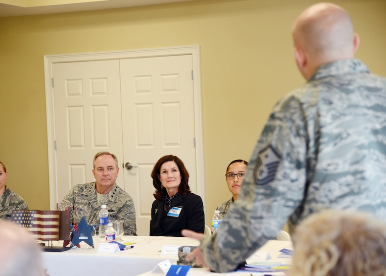 Air Force Chief of Staff Gen. Mark A. Welsh III and his wife, Betty, listen to firsthand testimonial from Airmen across Tinker Air Force Base, Okla., during a resiliency roundtable April 9, 2015. (U.S. Air Force photo/Kelly White)