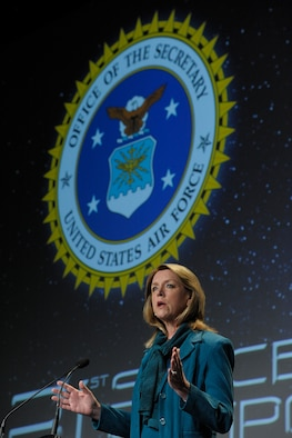 Secretary of the Air Force Deborah James speaks to an audience of military and space professionals at the 31st Annual Space Symposium, April 16, 2015, in Colorado Springs, Colo. The annual event brings together space leaders from around the world to discuss, address and plan for the future of space. (U.S. Air Force photo/Duncan Wood)
