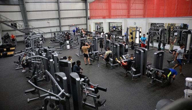 Base personnel work out in the main fitness center at an undisclosed location in Southwest Asia April 17, 2015. The fitness center is available to base personnel 24/7 here.   (U.S. Air Force photo/Tech. Sgt. Jeff Andrejcik)