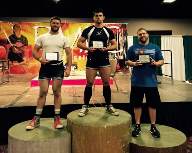Senior Airman Jacob Horton, 460th Contracting Flight, wins first place at his first ever powerlifting competition in February 2015 in Colorado. He began powerlifting while on deployment and has been competing successfully since then. (Courtesy Photo)