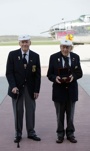 "Doolittle Raiders Lt. Col. Dick Cole and Staff Sgt. David Thatcher pose with the Congressional Gold Medal after it arrived at Wright-Patterson AFB following a ceremonial flight on board the B-25 ""Panchito."" (U.S. Air Force photo by Will Haas)"