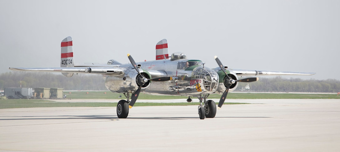 "B-25 ""Panchito,"" owned by Larry Kelley and Lorie Thomsen, arrives at Wright-Patterson AFB following a ceremonial flight with the Doolittle Raiders Congressional Gold Medal on board. (U.S. Air Force photo by Will Haas)"