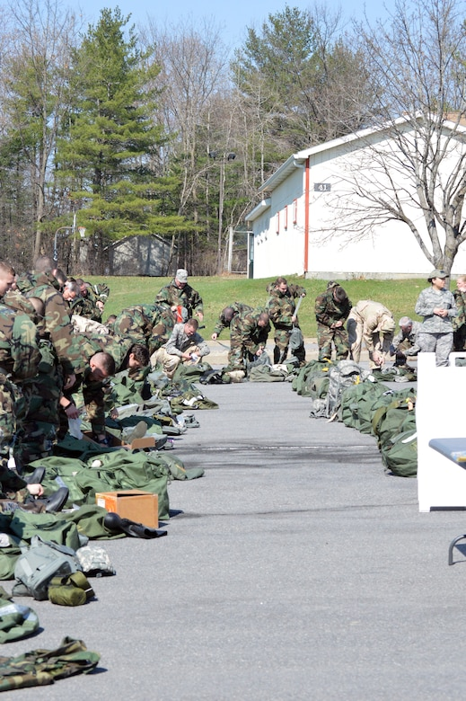 Airmen begin the hands-on chemical, biological, radiological and nuclear training at Stratton Air National Guard Base, New York, on April 18, 2015. The training was part of the 109th Airlift Wing's first ancillary training rodeo where more than 200 Airmen were trained on CBRN as well as self-aid and buddy care. (U.S. Air National Guard photo by Tech. Sgt. Catharine Schmidt/Released)