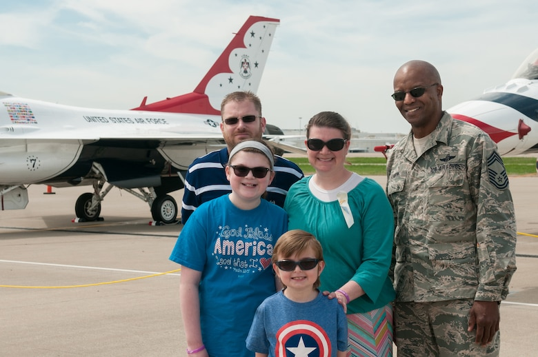 Nine-year-old Dawson Barr and his family visit the Kentucky Air National Guard's 123rd Airlift Wing to view aircraft that will be flown in the annual Thunder Over Louisville Air Show, in Louisville, Ky., April 18, 2015. Dawson has been battling cancer his entire life and currently has an inoperable brain tumor, making him legally blind in both eyes. (U.S. Air National Guard photo by 2nd Lt. James W. Killen)