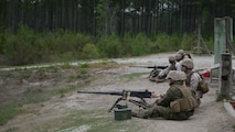 Marines with 8th Engineer Support Battalion, 2nd Marine Logistics Group fire live rounds from an M2 .50-caliber heavy machine gun during a live-fire training exercise at a multipurpose machine gun range at Marine Corps Base Camp Lejeune, North Carolina, April 14, 2015. They were taught the basic weapons conditions, practiced multiple safety techniques, and demonstrated to the instructors how to break down the weapons and how to keep the weapon systems properly maintained before and after use.