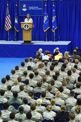 "Secretary of the Air Force Deborah Lee James speaks to U.S. Air Force Academy cadets April 16, 2015, in the Academy's Clune Arena, Colorado, during the Academy's second annual Take Back the Night event. The secretary told cadets that if a wingman is in trouble they have to say ""no"" to crude behavior, hazing and being silent. (U.S. Air Force photo/Master Sgt. Kenneth Bellard)"
